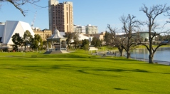 Looking across the Torrens Lake to the Festival Centre, and City Centre